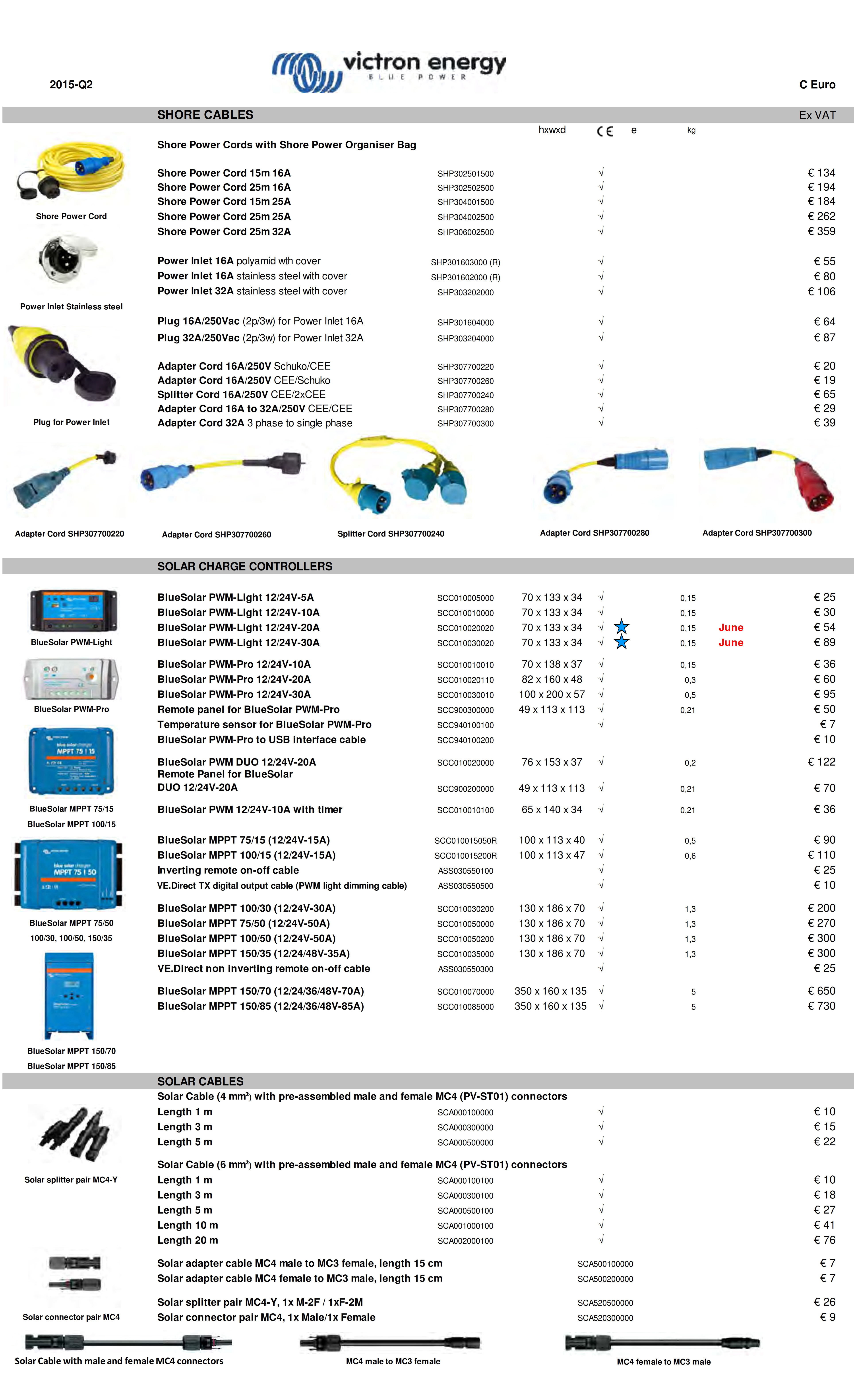 SHORE CABLES Ex VAT Shore Power Cords with Shore Power Organiser Bag hxwxd e kg Shore Power Cord 15m 16A SHP302501500 √ € 134 Shore Power Cord 25m 16A SHP302502500 √ € 194 Shore Power Cord 15m 25A SHP304001500 √ € 184 Shore Power Cord 25m 25A SHP304002500 √ € 262 Shore Power Cord 25m 32A SHP306002500 √ € 359 Power Inlet 16A polyamid wth cover SHP301603000 (R) √ € 55 Power Inlet 16A stainless steel with cover SHP301602000 (R) √ € 80 Power Inlet 32A stainless steel with cover SHP303202000 √ € 106 Plug 16A/250Vac (2p/3w) for Power Inlet 16A SHP301604000 √ € 64 Plug 32A/250Vac (2p/3w) for Power Inlet 32A SHP303204000 √ € 87 Adapter Cord 16A/250V Schuko/CEE SHP307700220 √ € 20 Adapter Cord 16A/250V CEE/Schuko SHP307700260 √ € 19 Splitter Cord 16A/250V CEE/2xCEE SHP307700240 √ € 65 Adapter Cord 16A to 32A/250V CEE/CEE SHP307700280 √ € 29 Adapter Cord 32A 3 phase to single phase SHP307700300 √ € 39 Splitter Cord SHP307700240 Adapter Cord SHP307700260 SOLAR CHARGE CONTROLLERS BlueSolar PWM-Light 12/24V-5A SCC010005000 70 x 133 x 34 √ 0,15 € 25 BlueSolar PWM-Light 12/24V-10A SCC010010000 70 x 133 x 34 √ 0,15 € 30 BlueSolar PWM-Light 12/24V-20A SCC010020020 70 x 133 x 34 √ 0,15 June € 54 BlueSolar PWM-Light 12/24V-30A SCC010030020 70 x 133 x 34 √ 0,15 June € 89 BlueSolar PWM-Pro 12/24V-10A SCC010010010 70 x 138 x 37 √ 0,15 € 36 BlueSolar PWM-Pro 12/24V-20A SCC010020110 82 x 160 x 48 √ 0,3 € 60 BlueSolar PWM-Pro 12/24V-30A SCC010030010 100 x 200 x 57 √ 0,5 € 95 Remote panel for BlueSolar PWM-Pro SCC900300000 49 x 113 x 113 √ 0,21 € 50 Temperature sensor for BlueSolar PWM-Pro SCC940100100 √ € 7 BlueSolar PWM-Pro to USB interface cable SCC940100200 € 10 BlueSolar PWM DUO 12/24V-20A SCC010020000 76 x 153 x 37 √ 0,2 € 122 Remote Panel for BlueSolar  DUO 12/24V-20A SCC900200000 49 x 113 x 113 √ 0,21 € 70 BlueSolar PWM 12/24V-10A with timer SCC010010100 65 x 140 x 34 √ 0,21 € 36 BlueSolar MPPT 75/15 (12/24V-15A) SCC010015050R 100 x 113 x 40 √ 0,5 € 90 BlueSolar MPPT 100/15 (12/24V-1