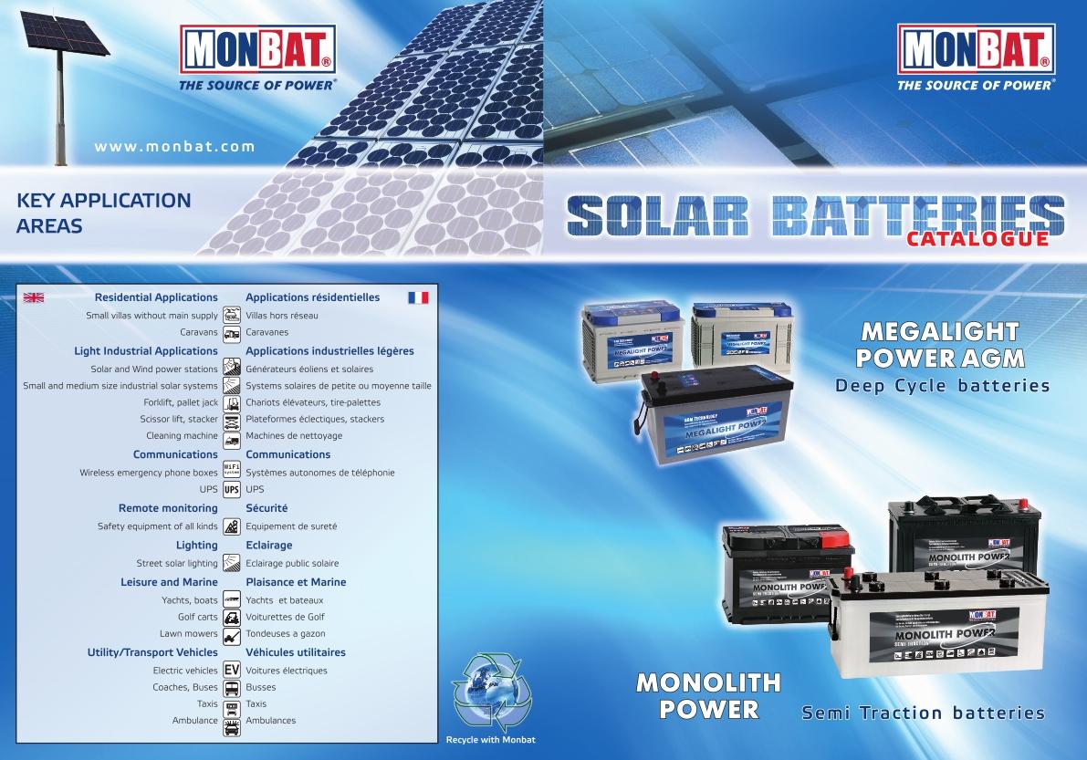 Specificatii Baterii Solare MONBAT Monolith Power Megalight Power AGM 1